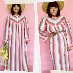 Vtg 70s Striped Boho RARE Cotton Maxi Dress S M L